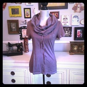 Vintage AllSaints cowl neck, hooded tee, purple